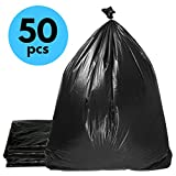 Duty Trash Bag | 50 counts 65 gallons Capacity Heavy-Duty 1.5 mil Thickness No Leak or Tear Weatherproof Low-Density Can Liners | 47'' x 55'' HDPE Puncture-Resistant Black Garbage Bag | 1580