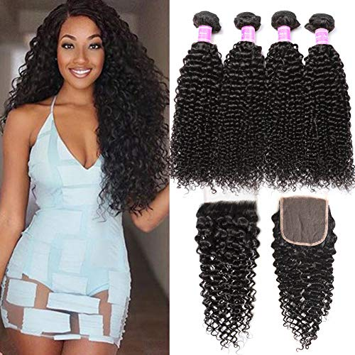 Flady Brazilian Curly Hair 4 Bundles with Closure 18 20 22 24+16inch 8a Unprocessed Virgin Brazilian Curly Human Hair Bundles with 4x4 Free Part Closure Natural Black Hair