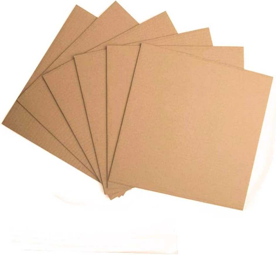 Corrugated Cardboard Sheets - (50-Pack,12.25 x 12.25 Inches)Flat Cardboard Sheets, Kraft Brown LP Record Pads Paper Inserts for Packing, Mailing, Crafts