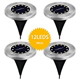 Hyton Solar Ground Light, 4Packs 12LEDS Lawn Lights, Garden Pathway Outdoor Driveway Deck Garden Landscape In-Ground Lights, Work until 4-5Am, Water Resistant, Sensing Auto On/Off Solar Lights(White)