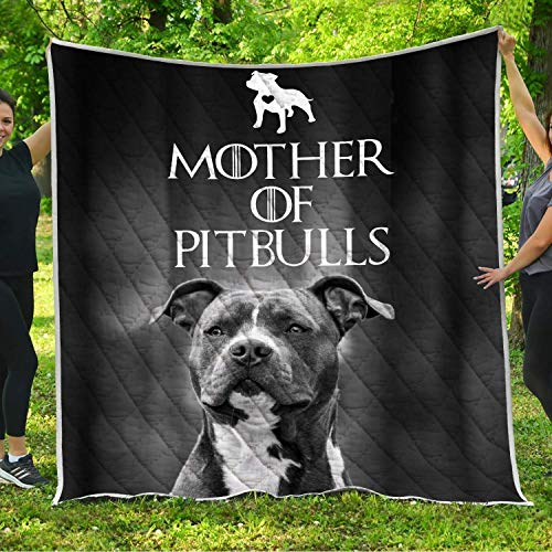 Mother of Pitbulls Dogs Quilt Pattern Blanket All-Season Quilts Comforters with Reversible Cotton King Queen Full Twin Size Quilted Gifts Dog Lovers