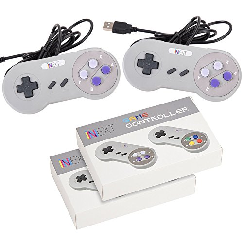 SNES Retro USB Super Nintendo Controller for Windows PC/MAC (Grey/Purple) (Pack of 2) by iNNEXT