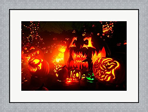 Jack o' lanterns lit at Roger Williams Park Zoo, Rhode Island, USA Framed Art Print Wall Picture, Flat Silver Frame, 30 x 23 inches -