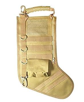 EXOH táctico bolsa de Navidad calcetín decoración de Navidad calcetines con mango para veteranos y Outdoorsy regalo 43X21cm caqui: Amazon.es: Hogar