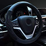 Alusbell Microfiber Leather Steering Wheel Cover Breathable Auto Car Steering Wheel Cover for Men Universal 15 Inches Black
