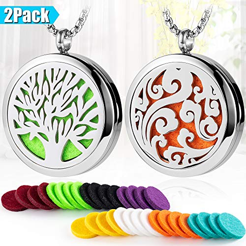 Aroma house 2PCS Aromatherapy Essential Oil Diffuser Necklace Set, 316L Stainless Steel Aromatherapy Pendant Locket Necklace with Adjustable Chain Perfume Necklace ()