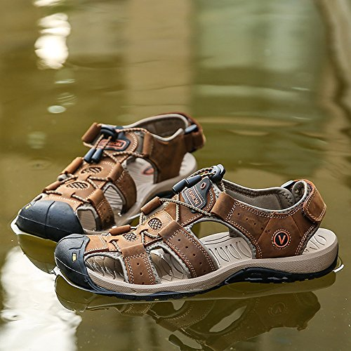 D't De Hommes Marron 43 Velcro Daim Pcheur Sports Chaussures Kotzeb Air Pour Boucle Eau Respirant Sandales Marche Plein w8I1qCz