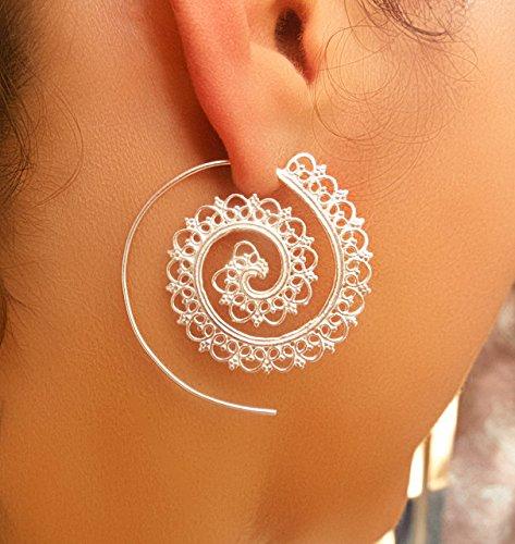 Silver Earrings - Silver Spiral Earrings - Gypsy Earrings - Tribal Earrings - Ethnic Earrings - Indian Earrings - Statement Earrings (ES1)