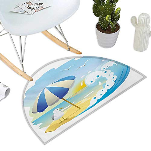 Seagulls Half Round Door mats Seagull at The Beach with Umbrella Waves Sand at Seaside Sunny Sky Cartoon Print Entry Door Mat H 23.6