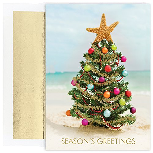 - Masterpiece Warmest Wishes 18-Count Christmas Cards, Beach Christmas Tree