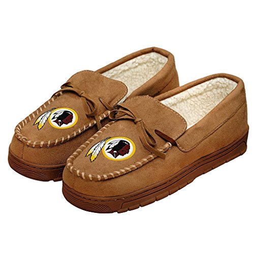 NFL Football Mens Team Logo Moccasin Slippers Shoe - Pick Team (Washington Redskins, Large)