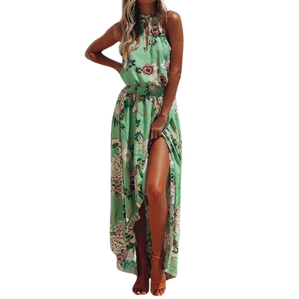 NREALY Women's Boho Floral Long Maxi Dress Sleeveless Evening Party Summer Beach Sundress(L, Green)