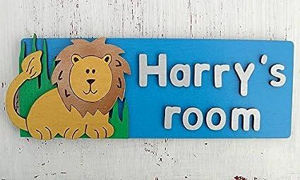 Personalised Boys Door Sign - Lion Design, Door Name Plaque, Handmade  Wooden 3D Bedroom Door Sign, My Bedroom Door Name Plate