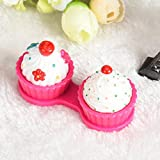 DZT1968 Cute Cartoon Strawberry Cake Cream Shape Contact Lens Case Box Set with Holder (Hot Pink)