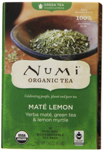 Numi Organic Tea Mate Lemon, Yerba Mate, Green Tea & Lemon Myrtle, 18 Count non-GMO Tea Bags 18k Lemon