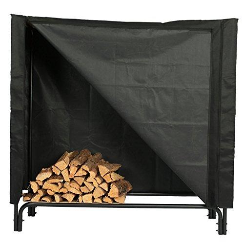 Rack Log 4' Cover (soldbbq 4-Foot Heavy-duty polyester Decorative Firewood Log Rack Cover, Black)