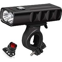 Luz para Bicicleta Juego de Luces Delandera y Trasera para Bicicleta Recargables por USB,1000 Lúmenes,Luz Delantera LED…