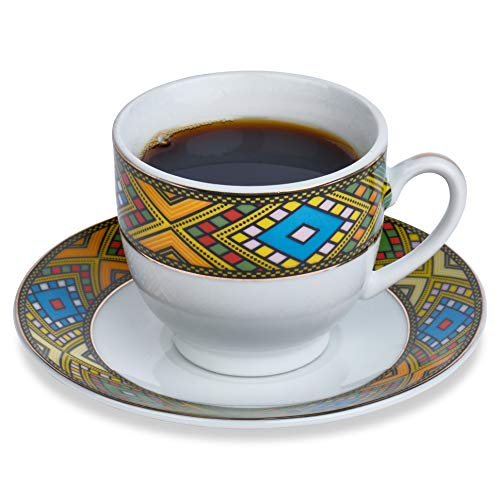 Ethiopian Coffee Ceremony - Ethiopian Traditional Coffee Cup - Set of 6 - Traditional Design - 6 Caps and 6 Saucers