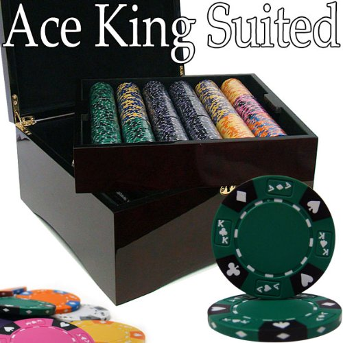 Brybelly Holdings PCS-2805M Pre-Pack - 750 Ct Ace King Suited Chip Set Mahogany Case from Brybelly