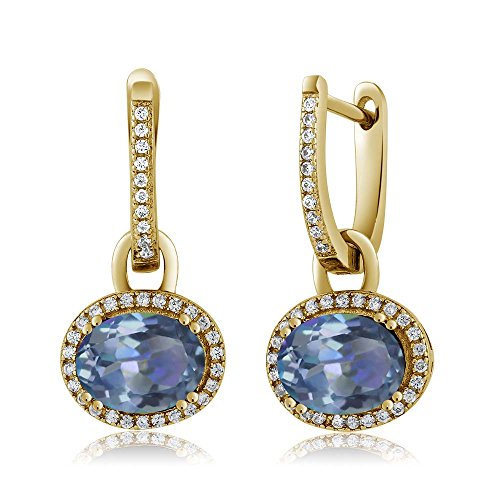 Gem Stone King 18K Yellow Gold Plated Silver Stunning Oval Gemstone Birthstone Dangling Earrings