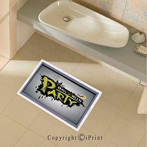 Floor Stickers Waterproof Safety Halloween Party Hand Drawn Brushstrokes Artistic Design Grunge Cartoon Wall Floor Decals Decor for Bathroom Kitchen Backsplash, 35.4x22.8Inch,Yellow White Black]()