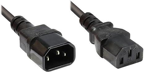 Kaltgeräteverlängerung 1,0 m Stecker auf Buchse C13 C14 schwarz  1 Stück
