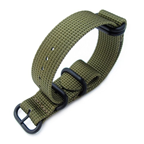 MiLTAT-20mm-5-Rings-G10-Zulu-Water-Repellent-3D-Nylon-Watch-Band-Military-Green-PVD