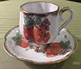 Vintage UCAGCO Ceramic Gold Trim w Strawberries 3 Foot Demitasse Cup & Saucer