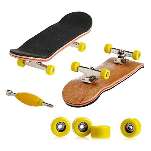 [해외]Kangnice 목재 데크 핑거보드 스케이트보드 스포츠 게임 어린이 선물 메이플 우드 옐로우 / Kangnice Wooden Deck Fingerboard Skateboard Sport Games Kids Gift Maple Wood Yellow