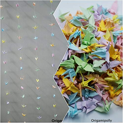 500 Origami Crane String Mix color, Hanging Origami Cranes, Wedding Backdrop, Garland Origami Crane, Paper Birds, Origami crane mobile