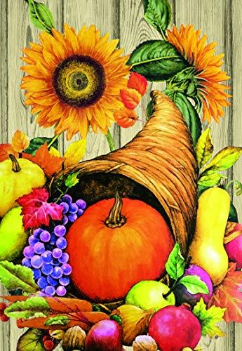 Lantern Hill Autumn Harvest Cornucopia Garden Flag; Sunflowers, Pumpkins, Fruit; 12.5 by 18 inches; Double Sided Fall Seasonal Decorative Banner ()