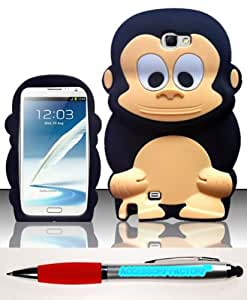 Accessory Factory(TM) Bundle (the item, 2in1 Stylus Point Pen) Samsung Galaxy Note 2 N7100 - Monkey 3D Silicon Case Cover Protector Black SCMK Soft Silicone Jelly Rubber Skin Phone
