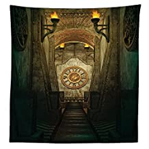 Gothic House Decor Tablecloth Medieval Secret Passage with Torch and Golden Clock on Wall Mystery in Temple Print Rectangular Table Cover for Dining Room Kitchen Grey Teal