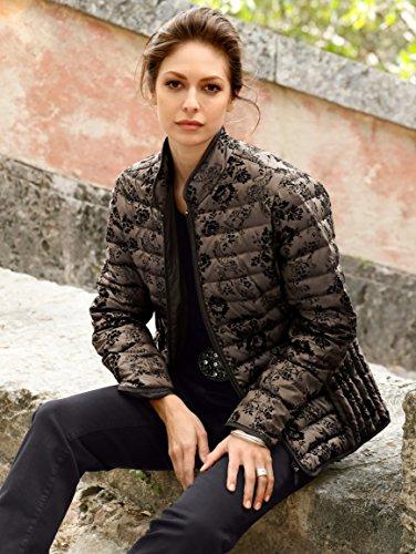 MONA Damen Daunenjacke mit Flockprintverzierung Braun-schwarz 810D7Jvk