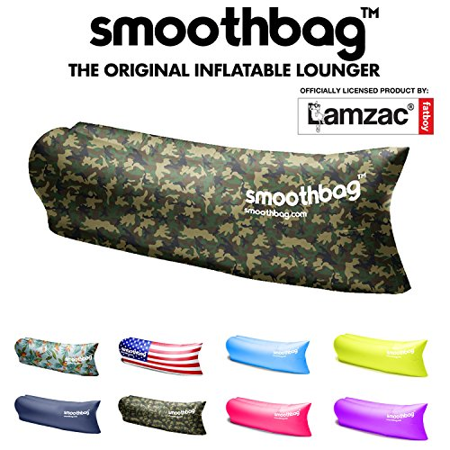 SmoothBag Premium Inflatable Lounger Sofa | Banana Chair Hammock for Camping, Hiking, Festivals, Lounging | Lazybag, Lamzac, Vansky Style Lounging Couch, Chair and Air Chaise Lounge (Camouflage) (Banana Chair Lounge)