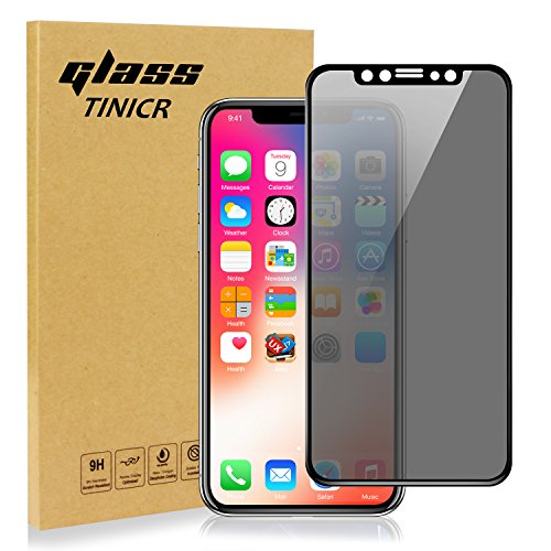 TINICR iPhone X XS Privacy Screen Protector Tempered Glass for iPhone 10 Privacy Shield Film Screen Guard Cover 0.2mm Slim Anti Spy Scratch Resistant Anti Finger Bubble Free (5.8'', Black)