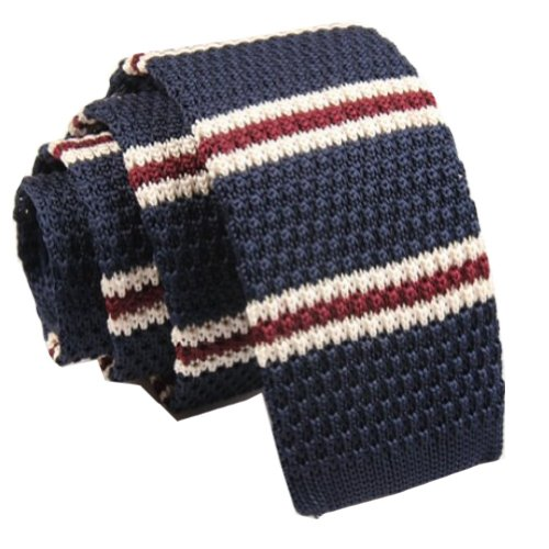 Narrow Slim Necktie (D.berite Men's Navy Blue Stripe Tie Knit Knitted Necktie Narrow Slim Skinny)
