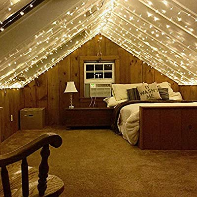 CREASHINE 300 LED Window Curtain String Light, LED Fairy String Lights 8 Modes Decoration for Wedding Party Home Garden Bedroom Outdoor Indoor Wall Decorations, Warm White(9.8x9.8 Ft) : Garden & Outdoor