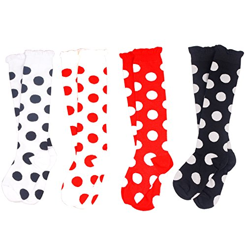Dots Knee High - Girls Knee High Socks 4 Pairs Cotton Seamless Legging Round Dot Dress Sock Medium