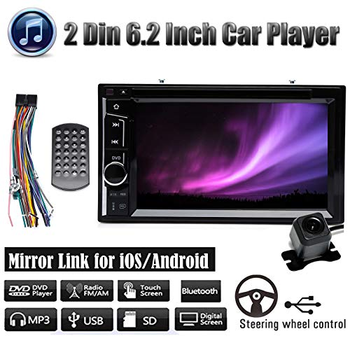 Double Din Car Radio with Backup Camera for Chevy Silverado 1500 2004-2013,with Mirror Link Bluetooth CD/DVD Player AM/FM Receiver Aux Input Subwoofer Control 6.2