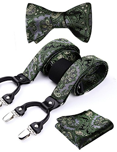 HISDERN Paisley Floral 6 Clips Suspenders & Bow Tie and Pocket Square Set Y Shape Adjustable Braces,Green & Gray,One Size
