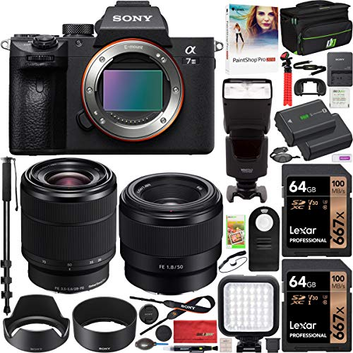 Sony a7III Full Frame Mirrorless Camera ILCE-7M3K/B with 2 Lens SEL2870 FE 28-70 mm F3.5-5.6 OSS and SEL50F18F FE 50mm F1.8 Set + Deco Gear Case 2X 64GB Memory Cards Extra Battery Kit Deluxe Bundle