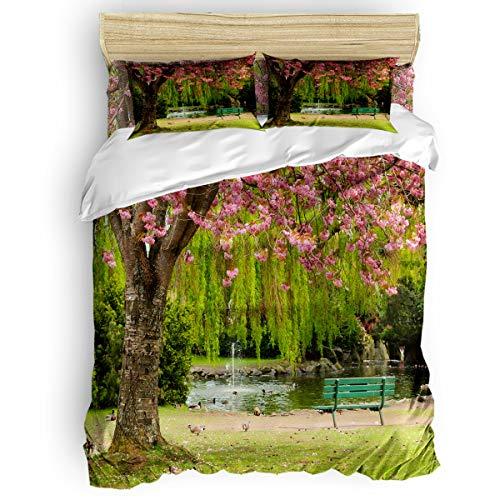 Bedding Duvet Cover Set Ultra Soft 4 Piece(1 Duvet Cover+1 Flat Sheet + 2 Pillowcases) Romantic Cherry Tree Pigeon Bench Lake Park Scenery Twill Plush Comforter Cover Set Twin -