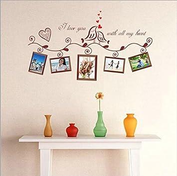 Ufengke® Romantische Liebe Vögel Bild Fotorahmen Wandsticker,Wohnzimmer  Schlafzimmer Entfernbare Wandtattoos Wandbilder,