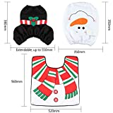 D-FantiX 3-Piece Snowman Santa Toilet Seat Cover and Rug Set Red Christmas Decorations Bathroom