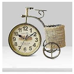 ZGP % Table Clocks for Living Room Decor Bedrooms Bathroom Rustic Desk Clock Battery Operated Analog Plant Non-Ticking Quartz Metal Retro Bicycle Classic Clock (Color : A)