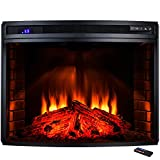 AKDY 33'' Freestanding 1400W Adjustable 5200BTU Tempered Glass 6 Setting LED Insert Electric Fireplace Stove