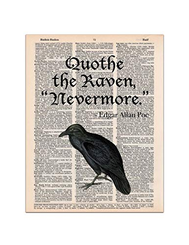 The Raven, Edgar Allan Poe Quote, Dictionary Page Art Print, 8x11 UNFRAMED ()