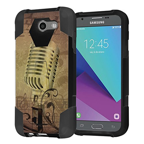 (Capsule Case Compatible with Galaxy J3 Prime, J3 Emerge, J3 Luna Pro [Shockproof Combat Kickstand Case Black] for Samsung Galaxy J3 Prime, J3 Emerge, J3 Luna Pro - (Microphone Music))
