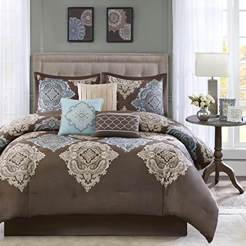 OS 7 Piece King Brown Damask Comforter Set, Floral Flower Paisley Medallion Hippie Bohemian Kashmir Boho Chic Indie Sleek Fashion Classic